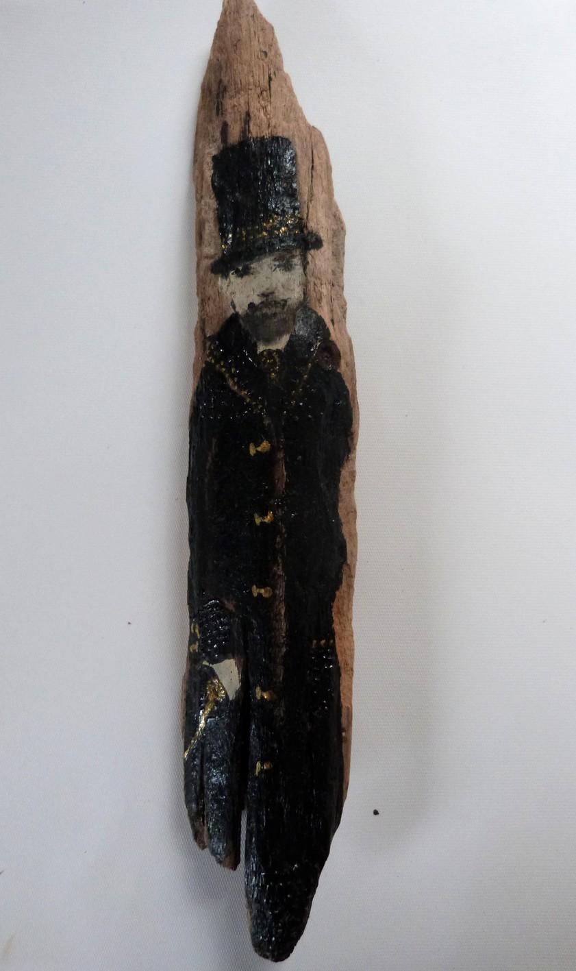 Statuette rétro poétique homme en noir et or