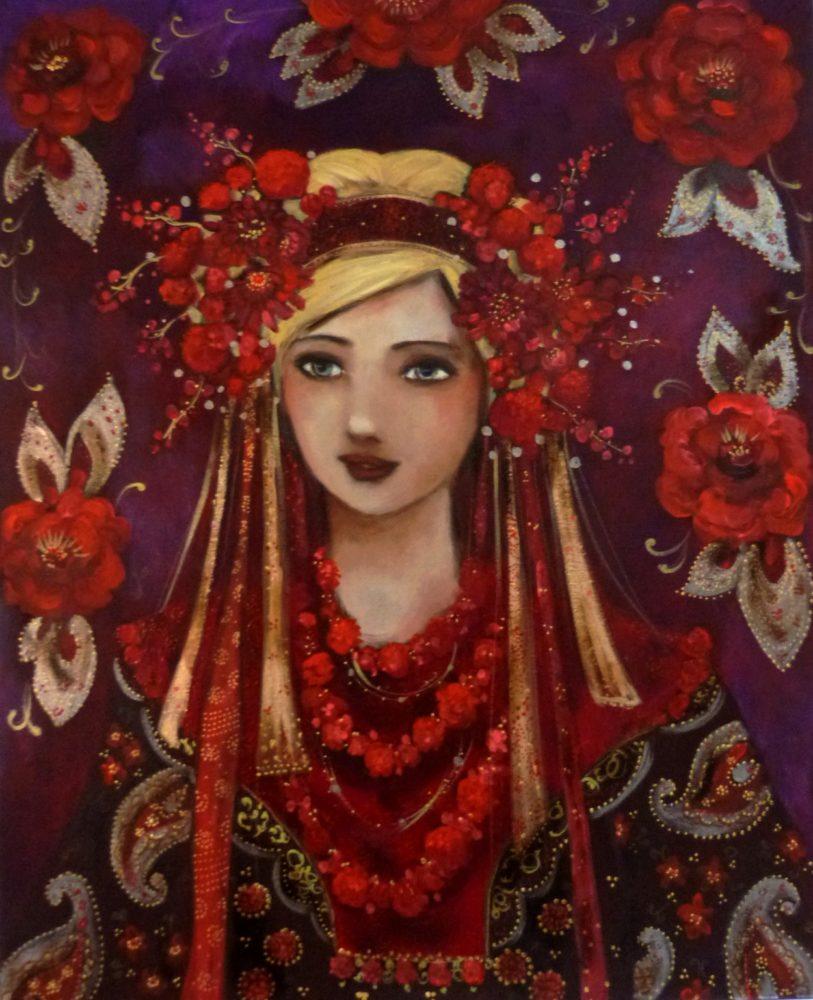 Portrait de femme slave à la chevelure fleurie et aux rubans