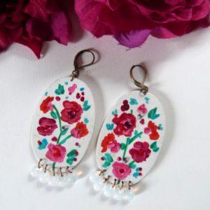 Boucles d'oreilles bouquet de fleurs en bois peint