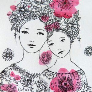 Dessin en noir, blanc et rose sur papier, maman et sa fille