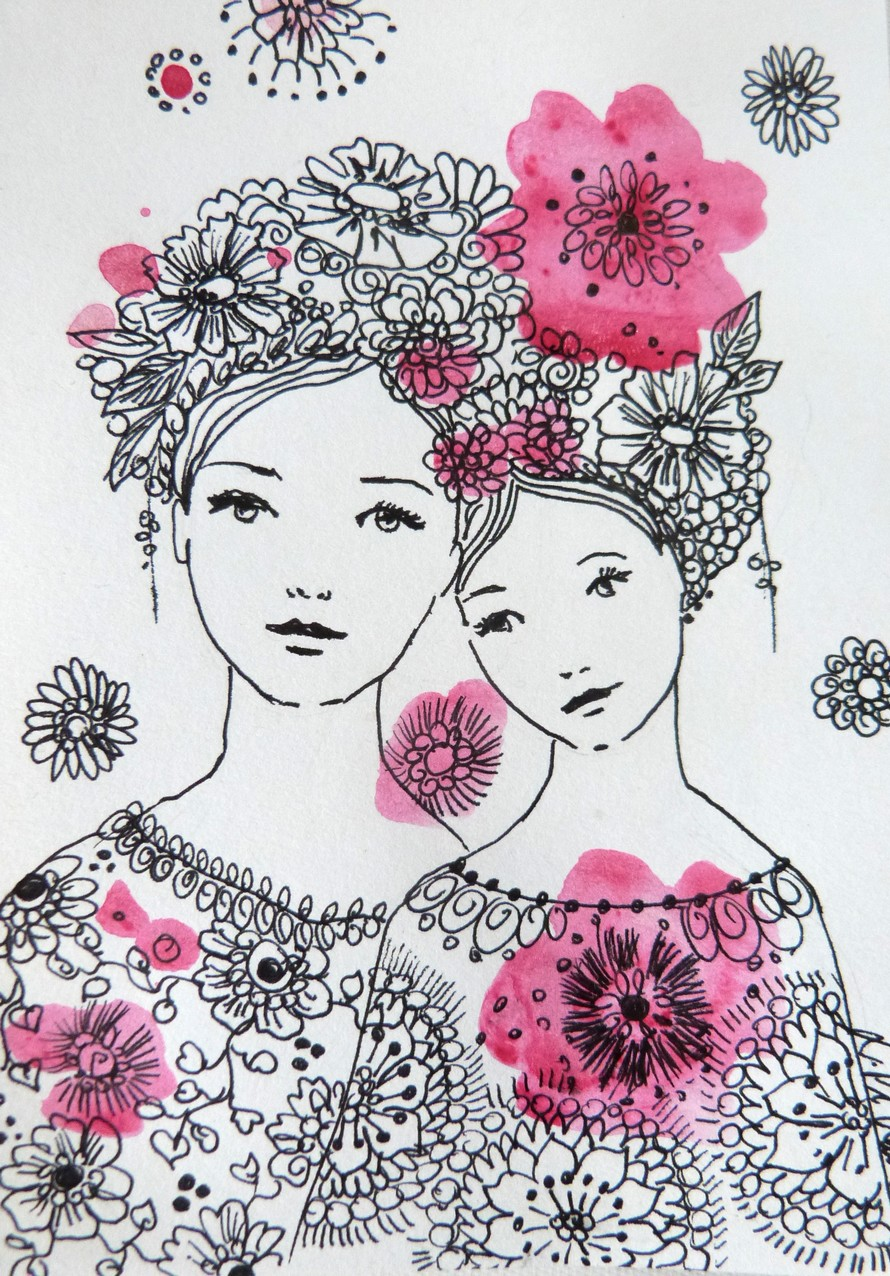 Dessin en noir blanc et rose sur papier maman loetitia - Dessin de maman ...