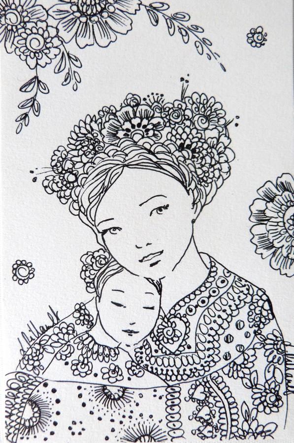 Scène de maternité, dessin en noir et blanc