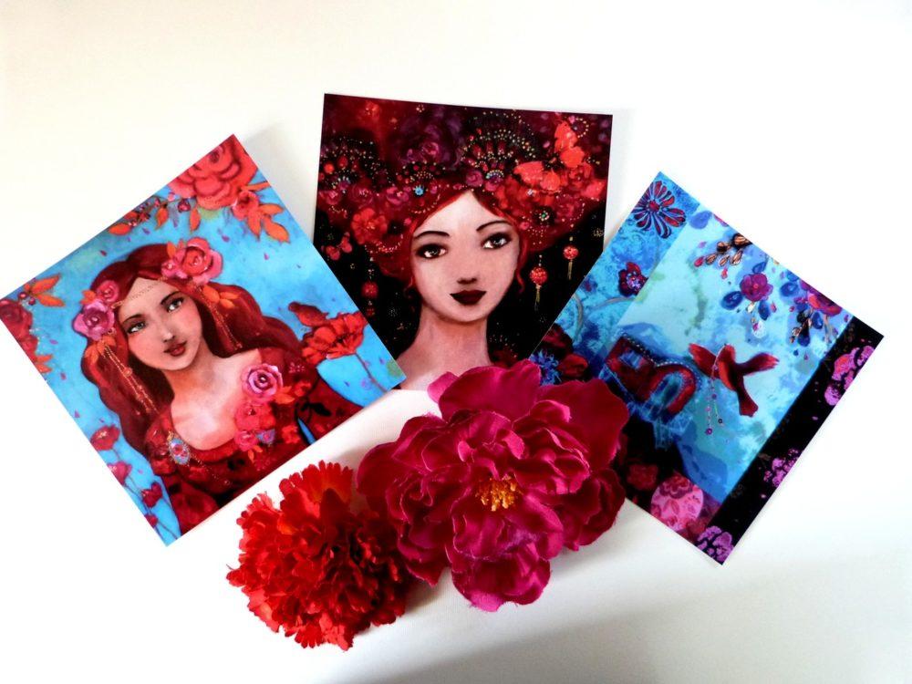 Cartes postales femmes et roulotte 14x14 cm