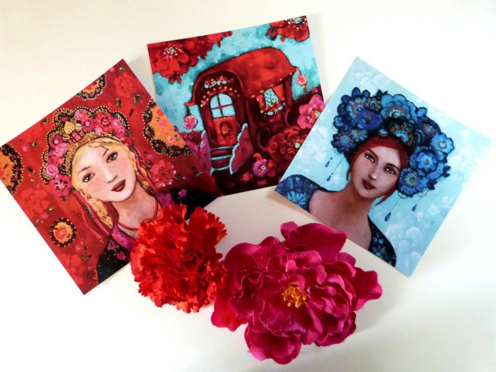 Cartes postales femmes et roulotte 14 x 14 cm.