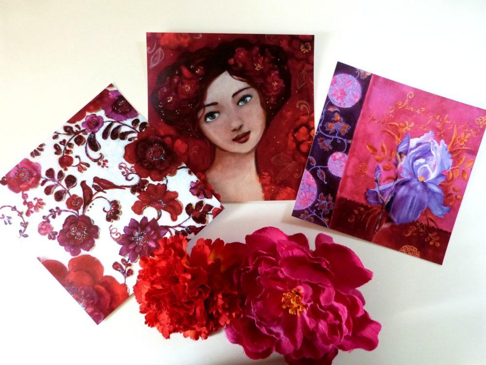 Cartes postales femme et fleurs