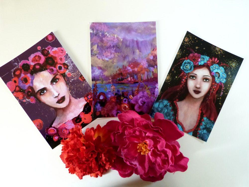 Cartes postales femmes bohèmes et paysage