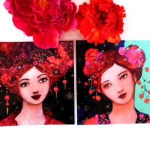 Cartes postales femmes romantiques bohèmes