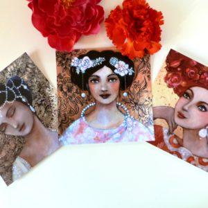 Cartes postales femmes romantiques