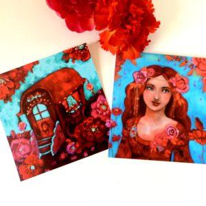 Cartes postales femme et roulotte