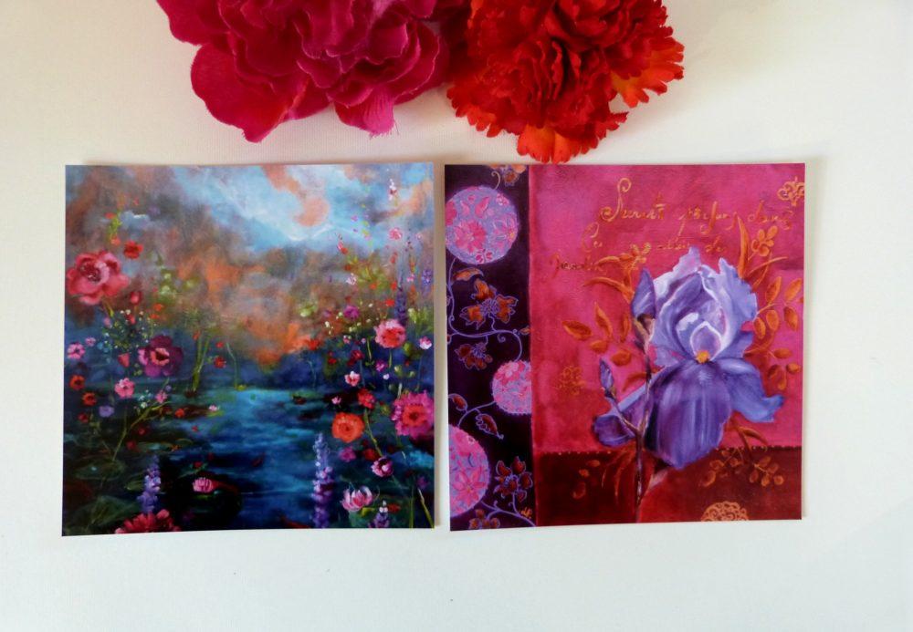 Cartes postales iris et paysage 14 x 14 cm.