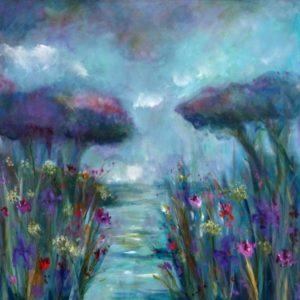 Paysage impressionniste étang aux rivages fleuris