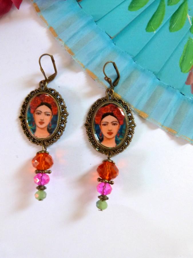 Boucles d'oreilles bohèmes esprit Frida Kahlo